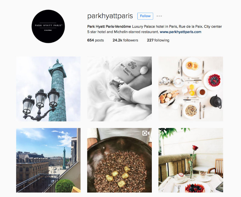 Park Hyatt Paris Instagram For Tourism Marketing